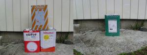長野市、玄関扉塗装用塗料の搬入