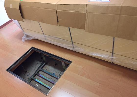長野市マンションリノベ、フローリング貼りキッチン設置